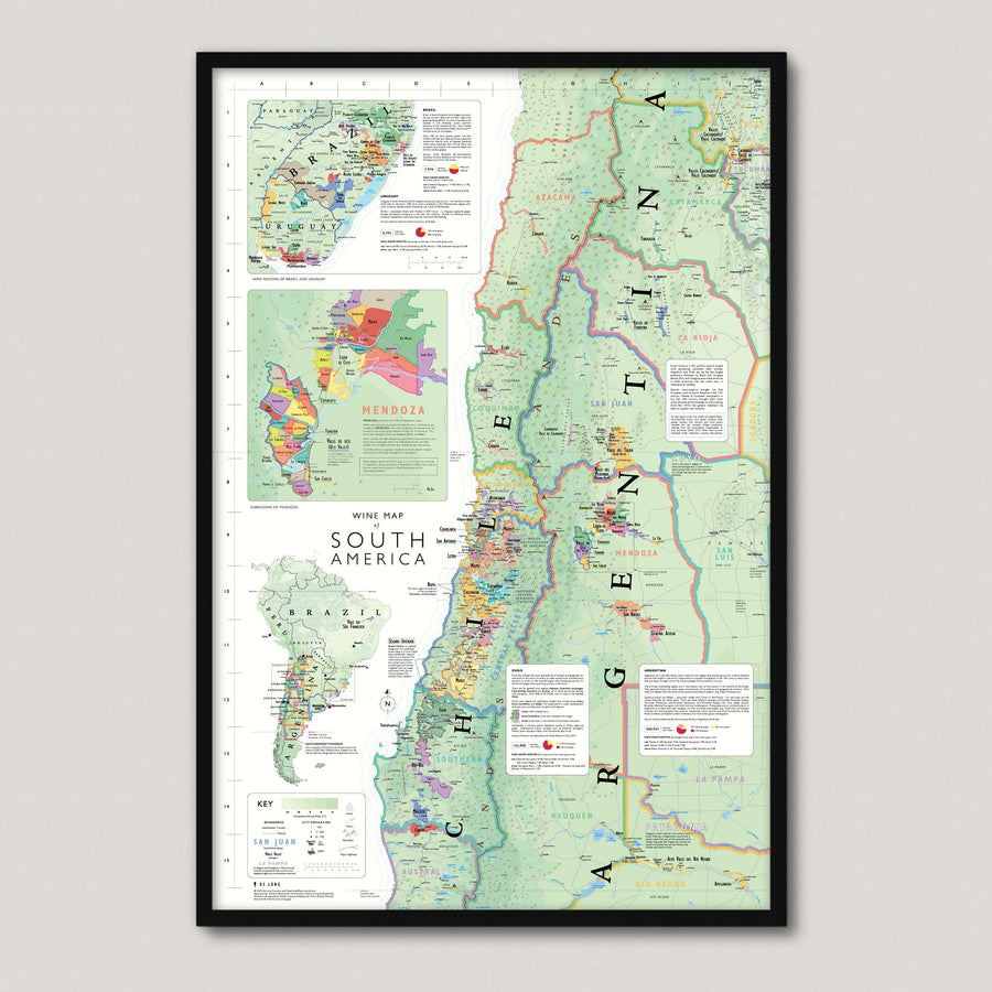 Wine Map of South America Framed - De Long