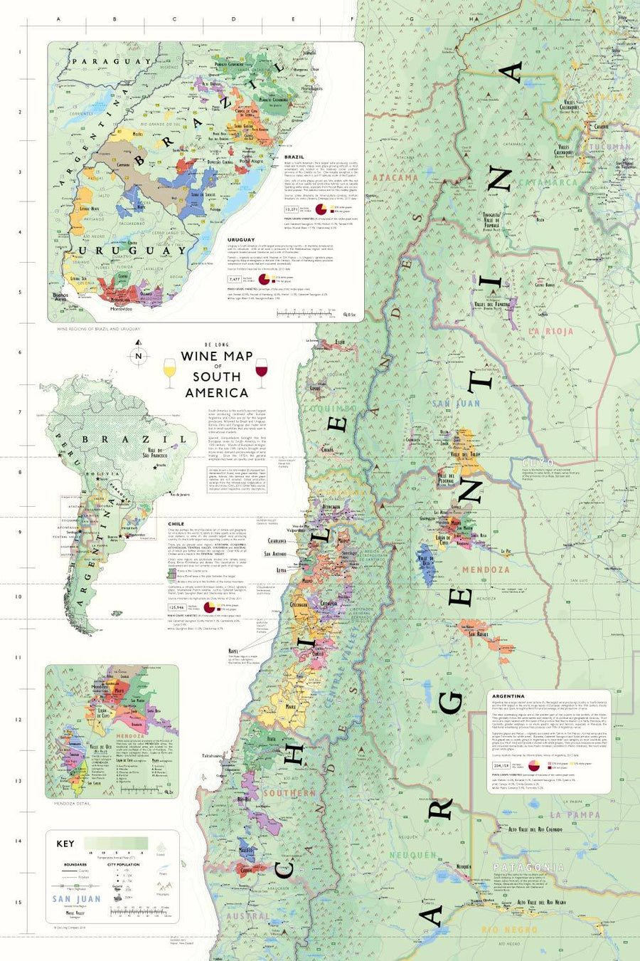 Wine Maps of the World South America | De Long