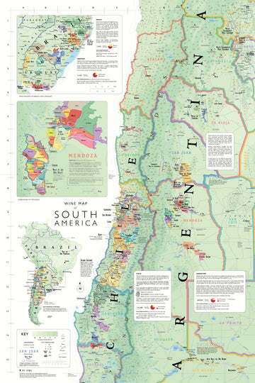 Wine Map of South America - De Long