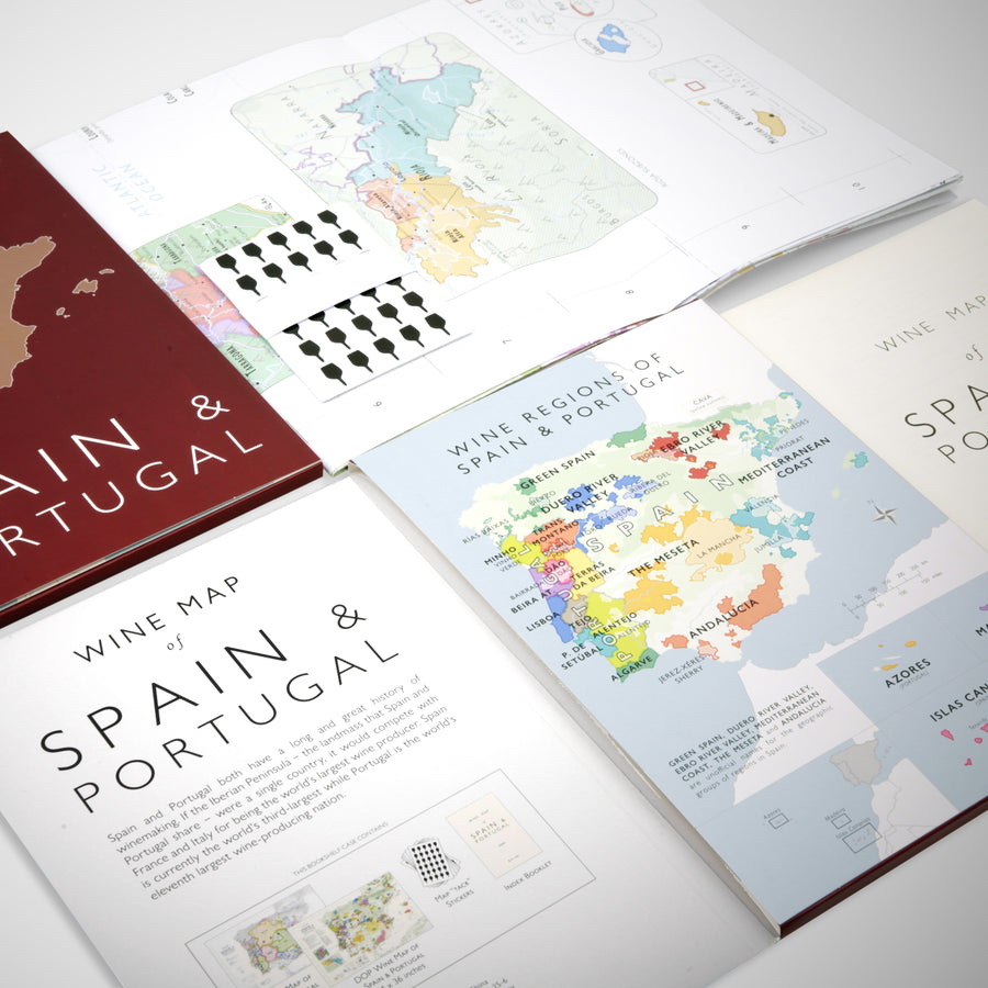 Wine Map of Spain & Portugal - Bookshelf Edition open