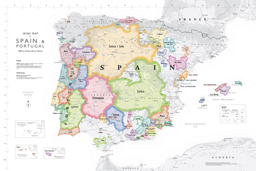 Wine Map of Spain & Portugal - Bookshelf Edition IGP regions