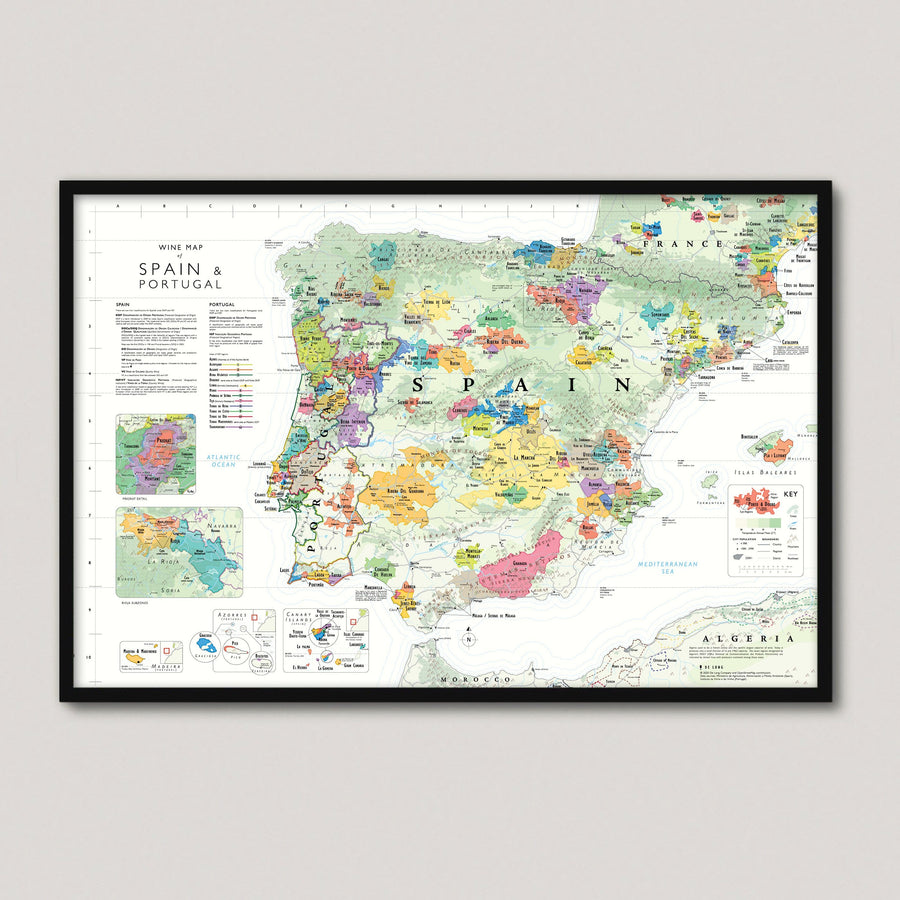 Wine Map of Spain and Portugal Framed - De Long