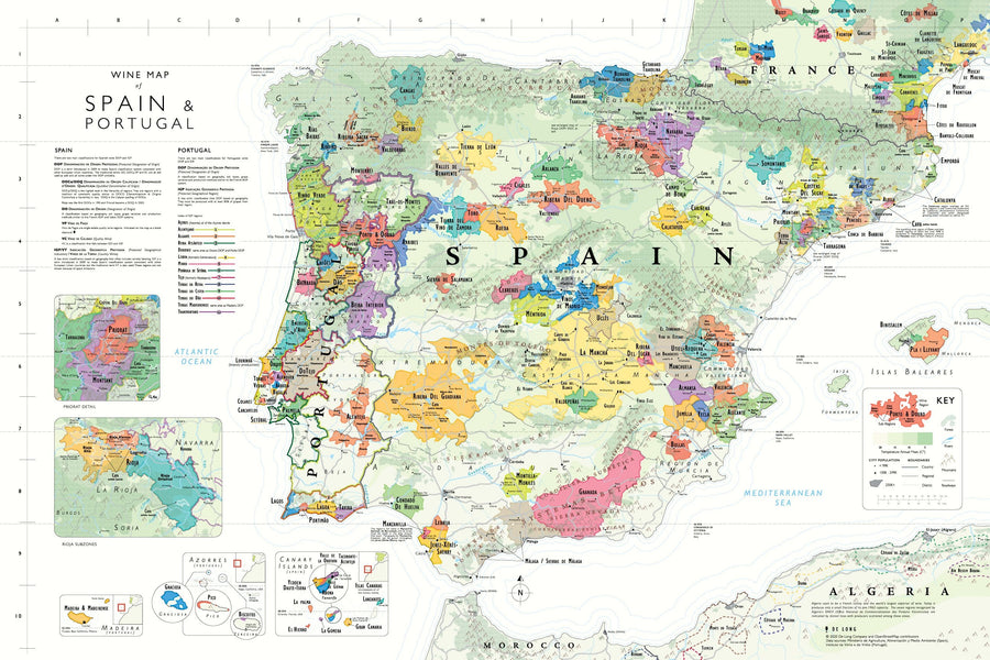 Wine Map of Spain and Portugal - De Long