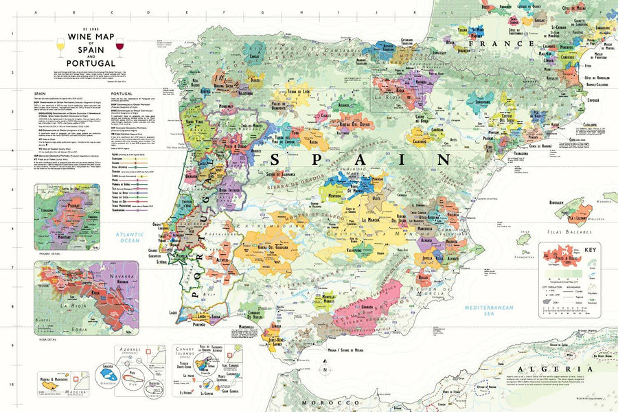 Wine Maps of the World Spain & Portugal | De Long
