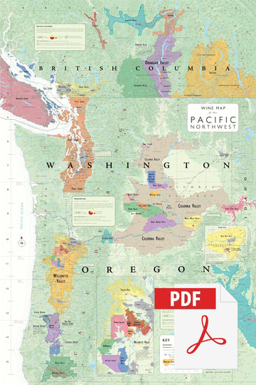 Wine Map of the Pacific Northwest - Digital Edition
