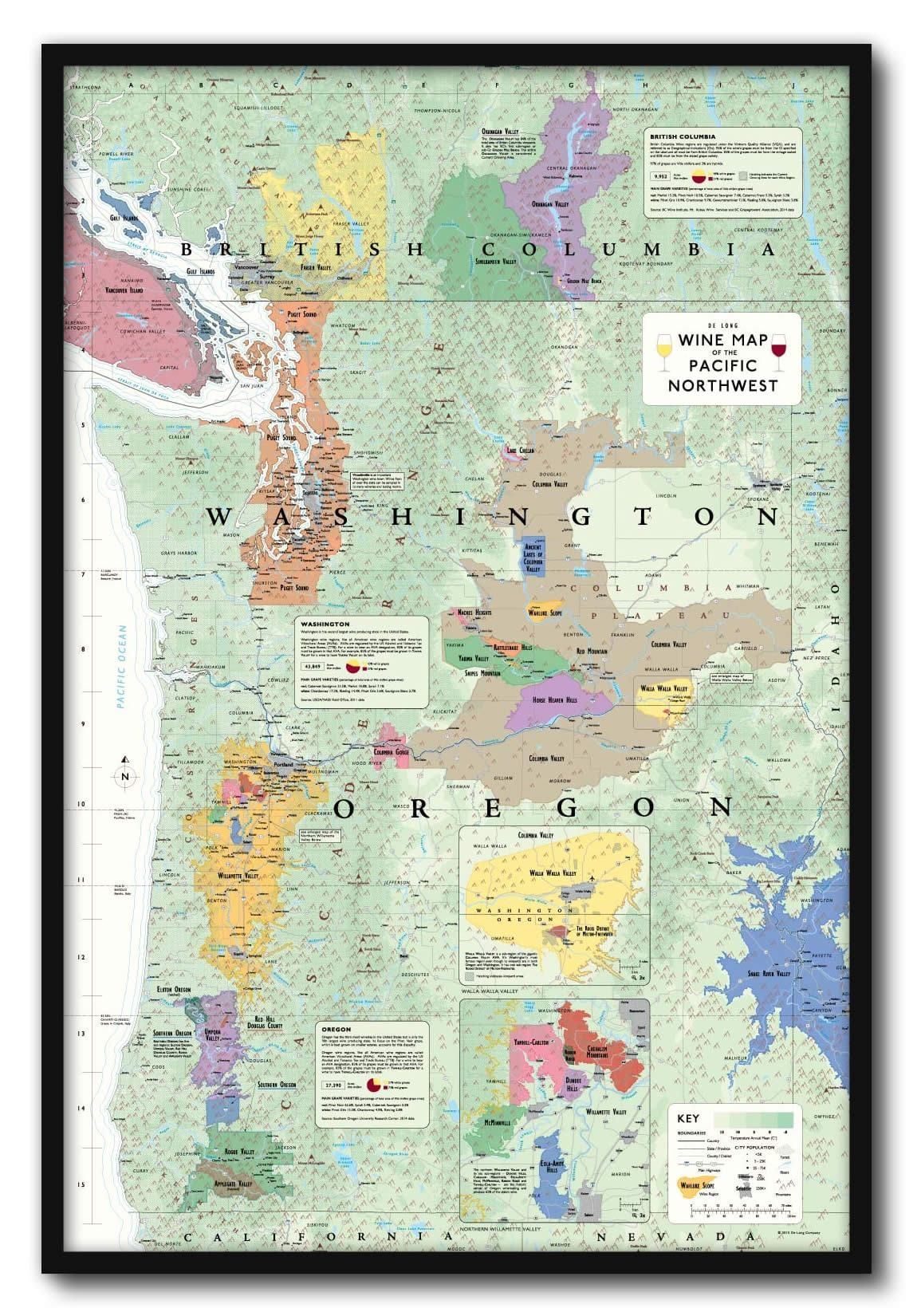 Wine Map of the Pacific Northwest Framed (OR, WA and BC) | De Long