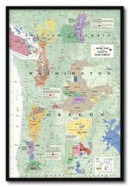Bc Washington Map.Wine Map Of The Pacific Northwest Framed Or Wa And Bc De Long