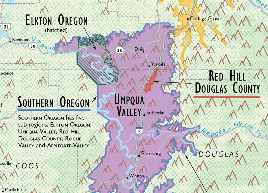Wine Map of the Pacific Northwest (Oregon, Washington and British Columbia) Umpqua Valley Detail | De Long