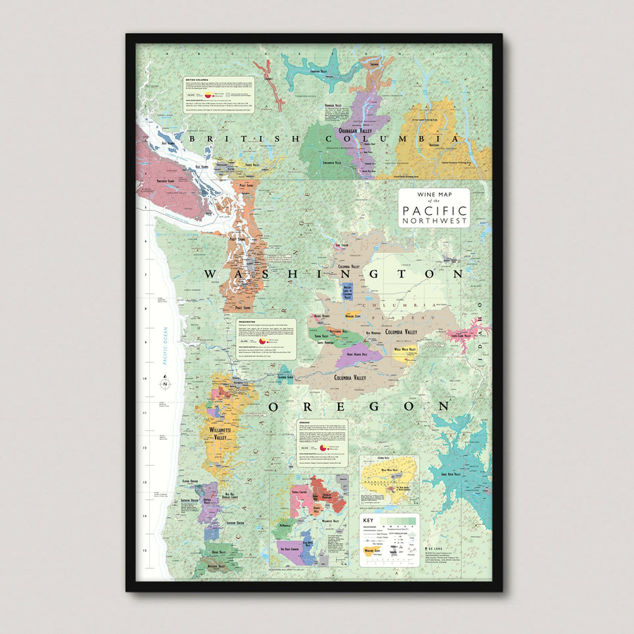Wine Map of the Pacific Northwest (Oregon, Washington and British Columbia) framed