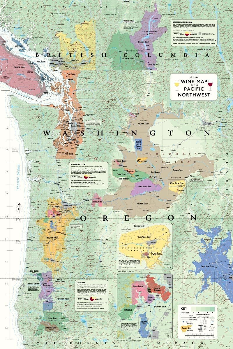 Wine Map of the Pacific Northwest (Oregon, Washington and British Columbia) | De Long