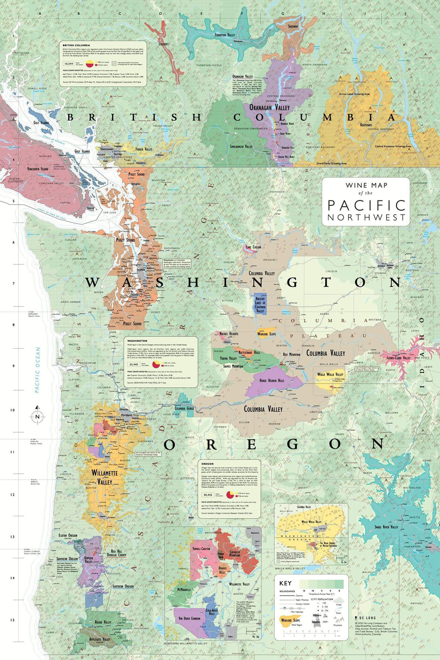 Wine Map of the Pacific Northwest Bookshelf Edition Map