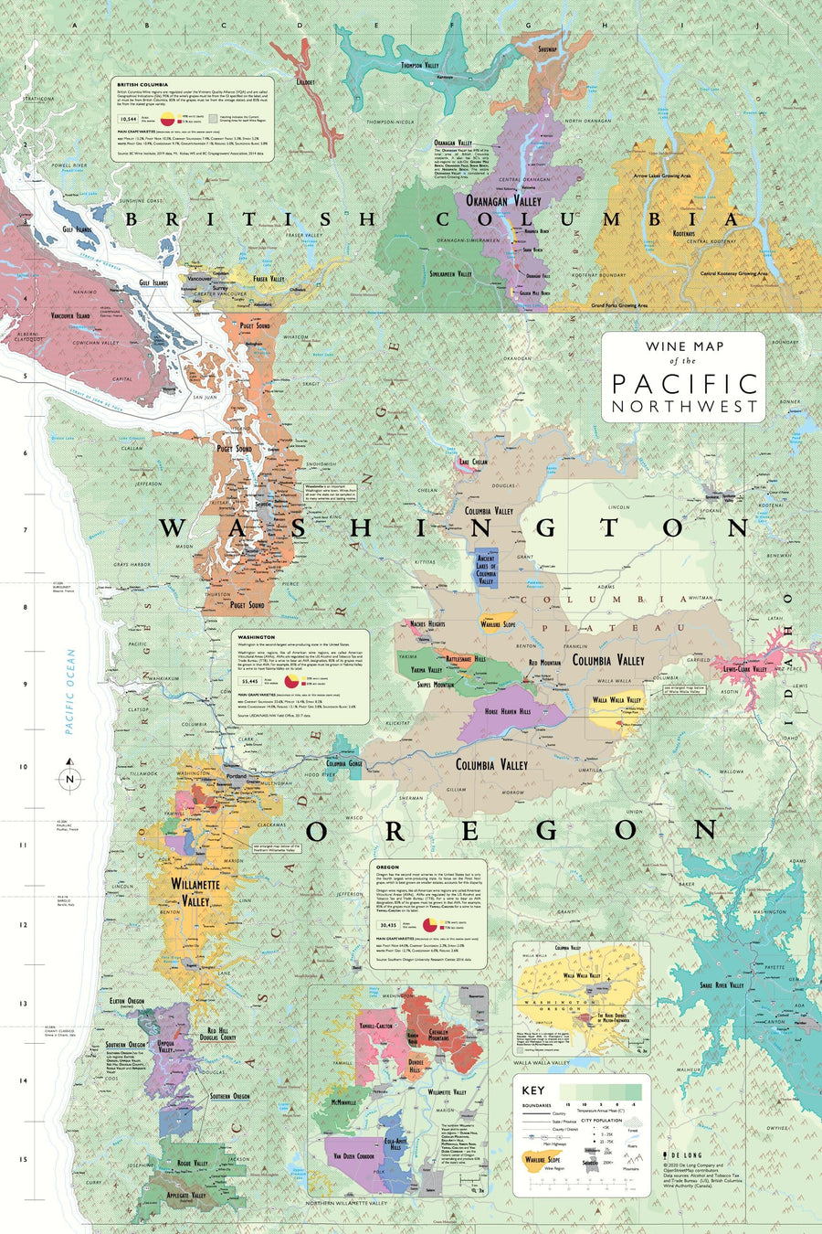 Wine Map of the Pacific Northwest (Oregon, Washington and British Columbia)