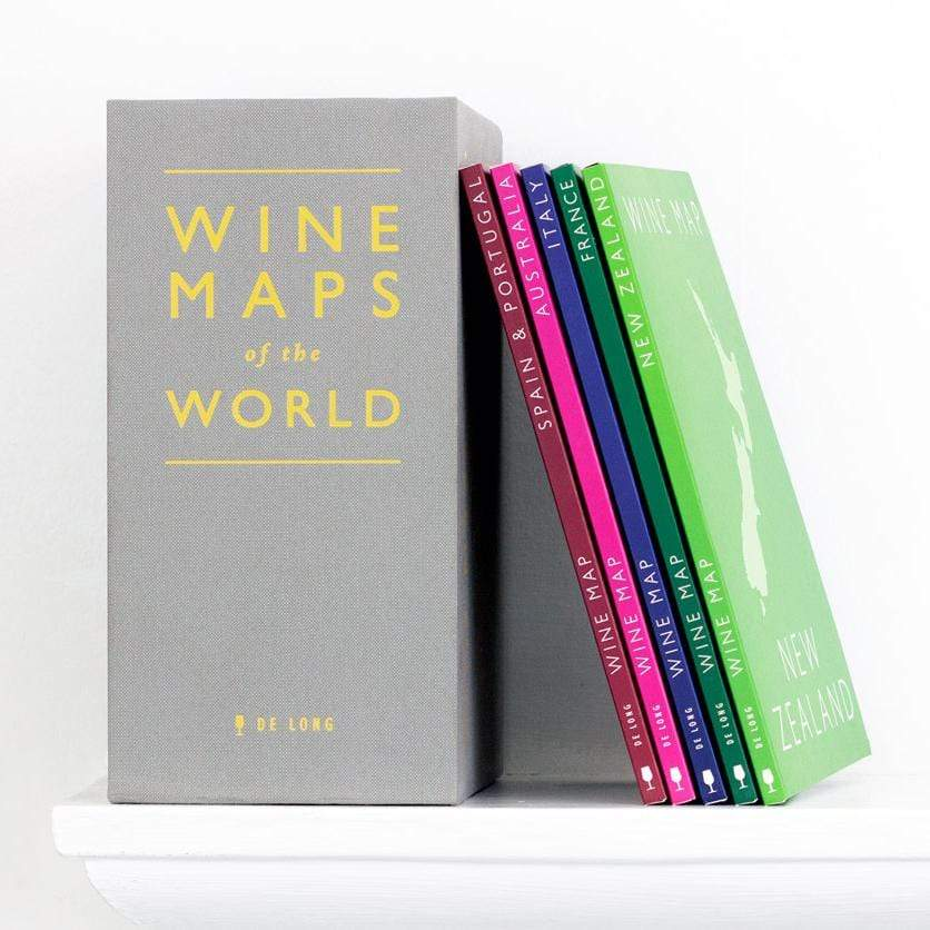 Wine Maps of the World on ledge