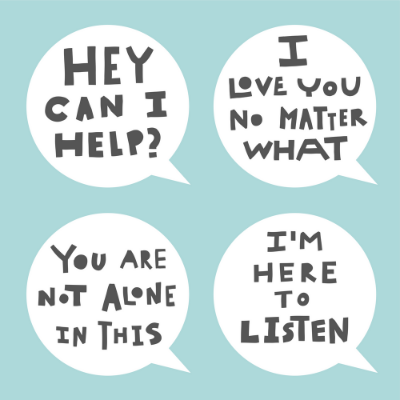 "Light green background with 4 speech bubbles that say, ""Hey can I help?"", ""I love you no matter what"", ""You are not alone in this"" and ""I'm here to listen"""