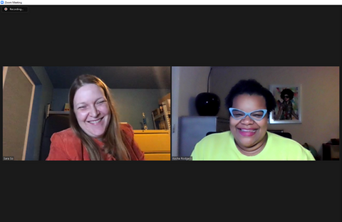 Sara So and Kesha Rodgers, each laughing in separate windows of a video conference
