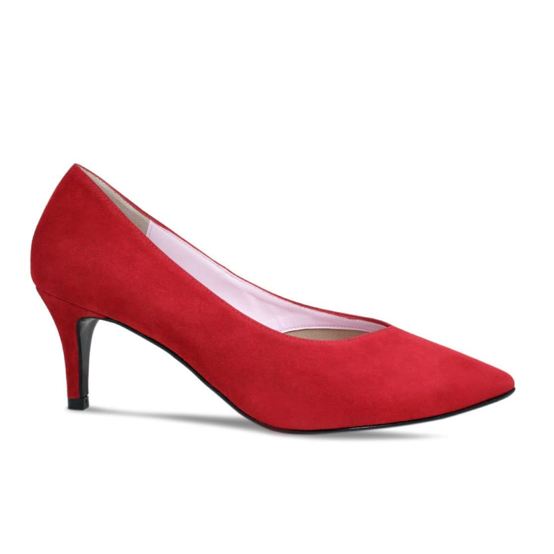 Red Suede Mid-Heel Pumps