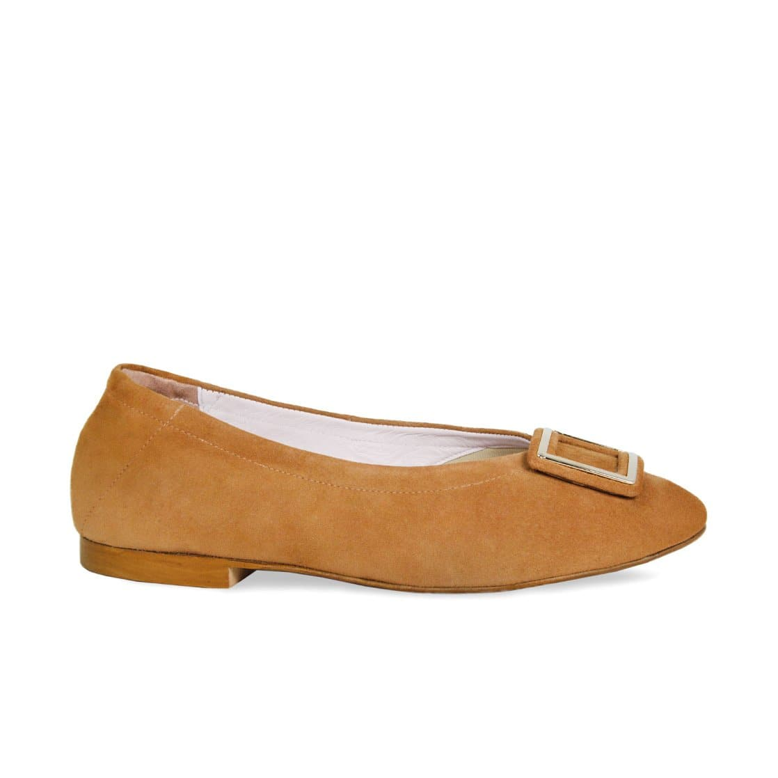 Tan Suede Ballet Flat with Buckle