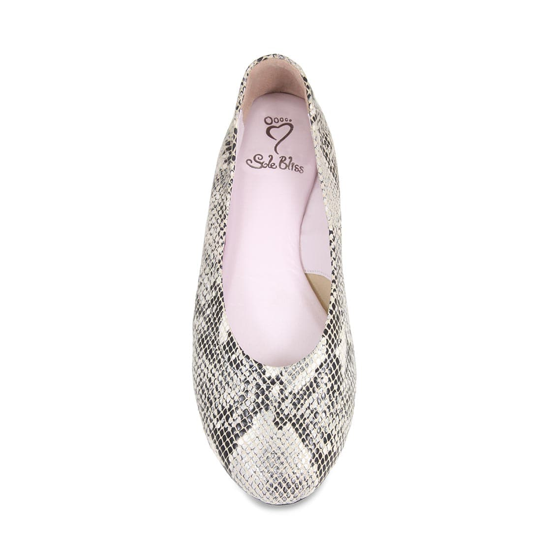 Grey Snake Print Leather Ballerina