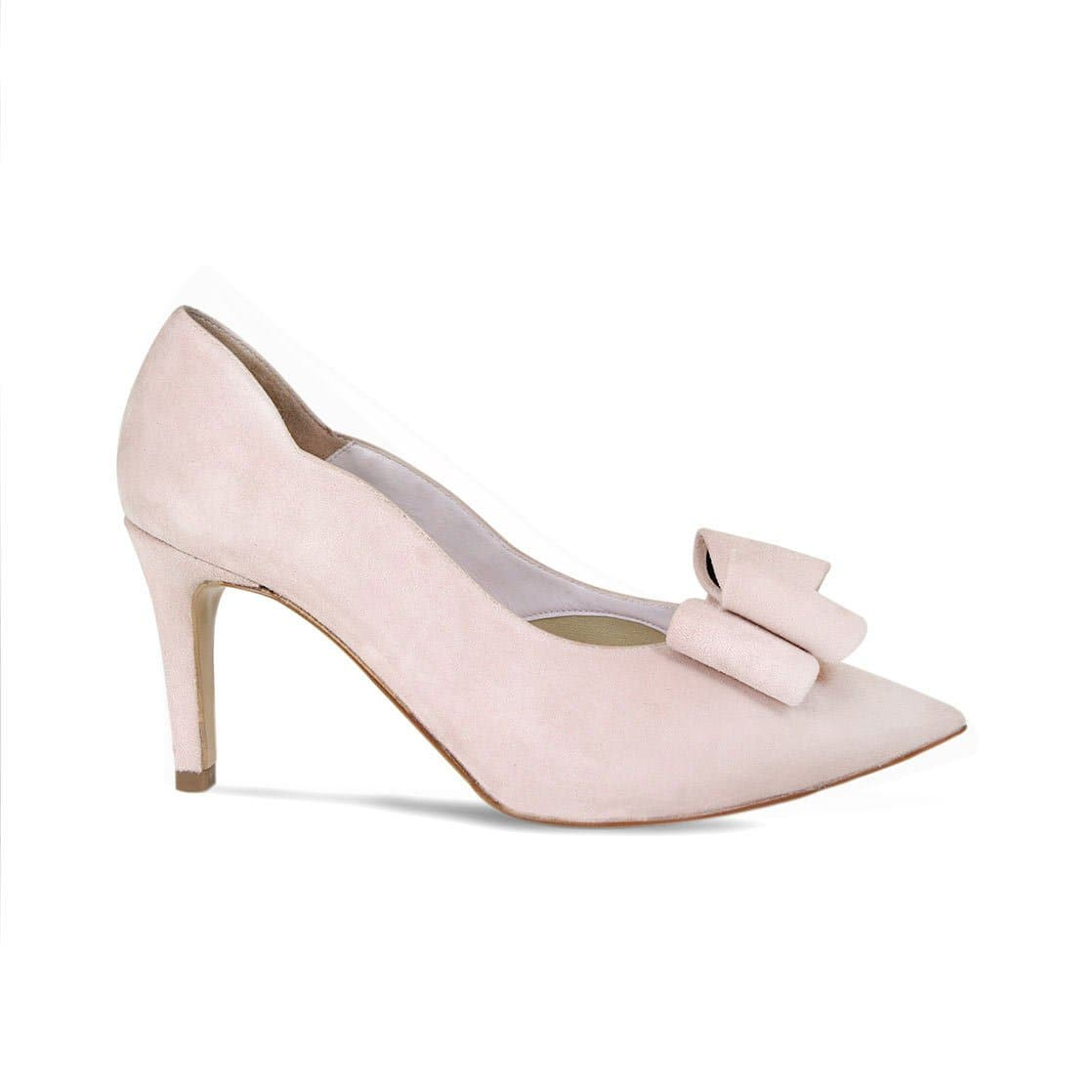 Blush Suede High Heel with a Bow