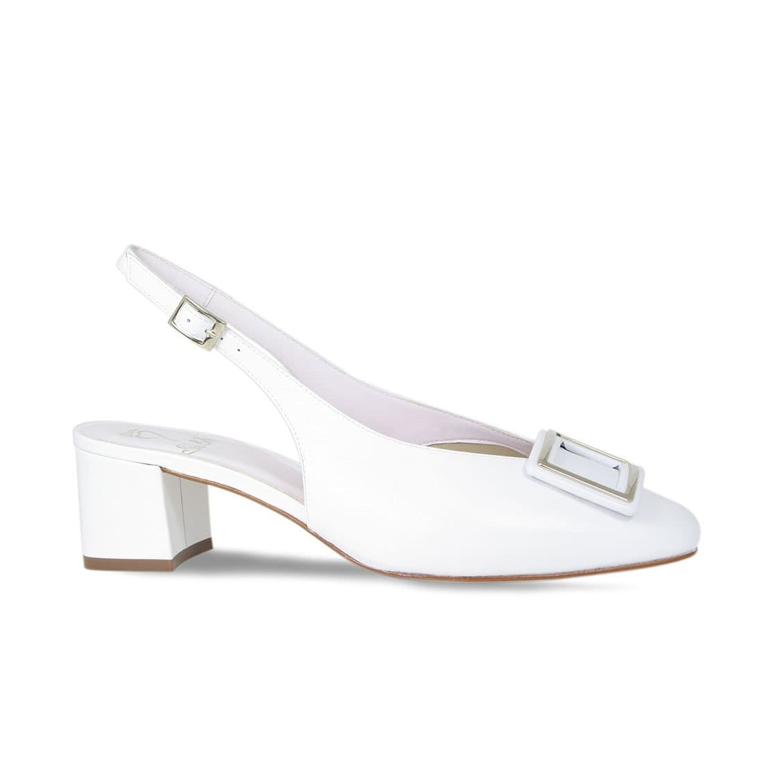 White Leather Square Toe Sling-Back Heels