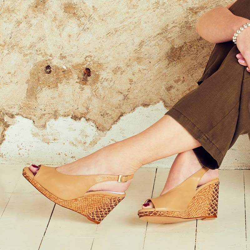 Camel Leather Peep-Toe Wedge Sandals