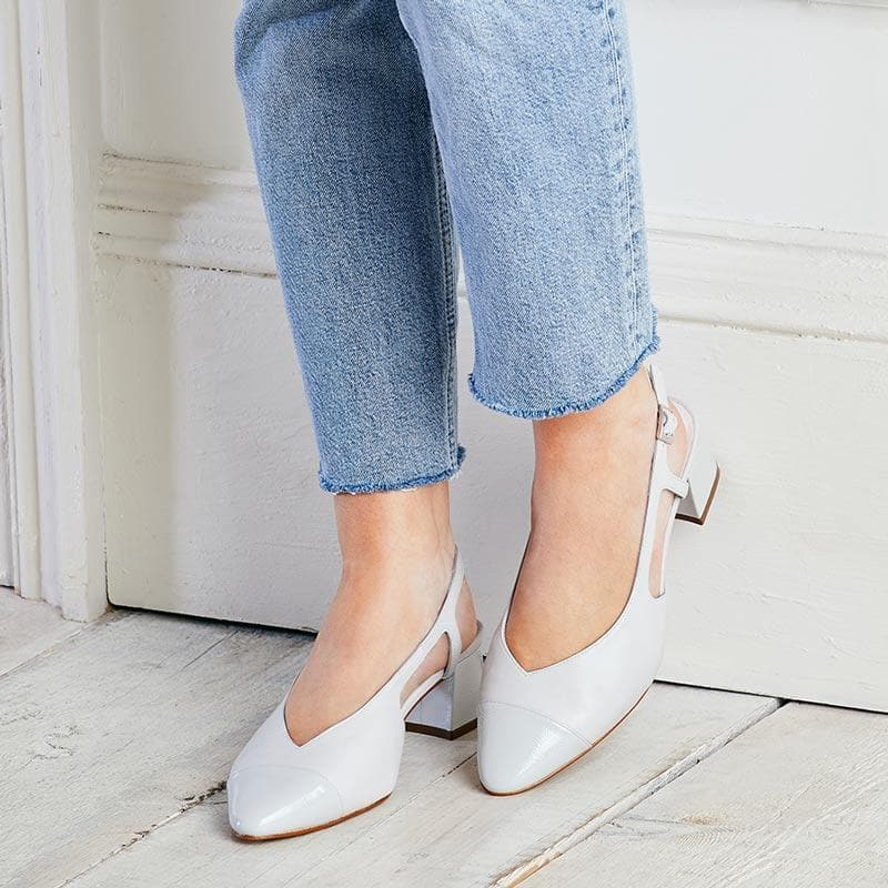 Pale Grey Leather & Patent Sling-Back Pumps