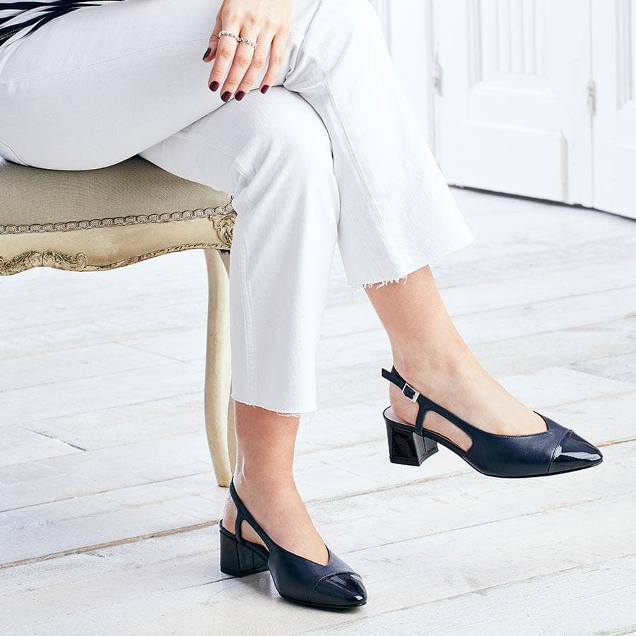 Navy Leather & Patent Sling-Back Pumps