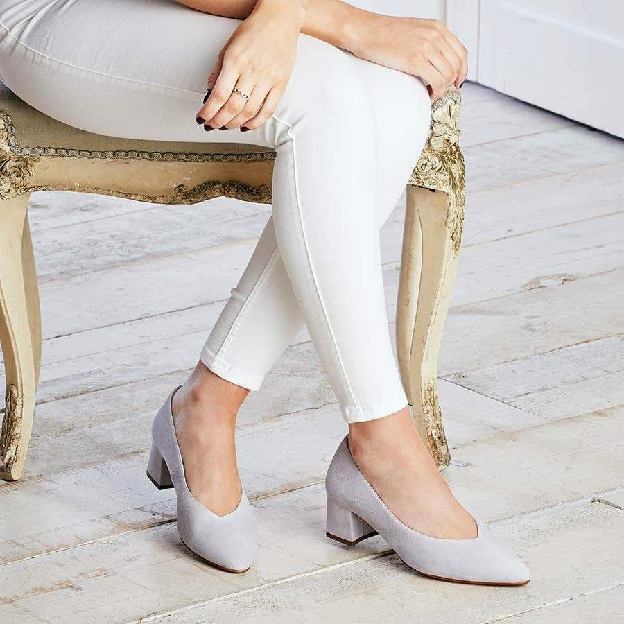 Pale Grey Suede Block Heeled Pumps