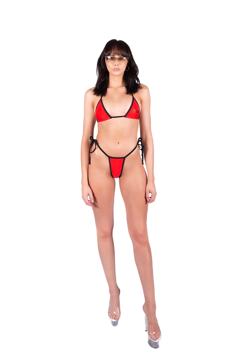 Iris Bikini Bottom - Red/Black