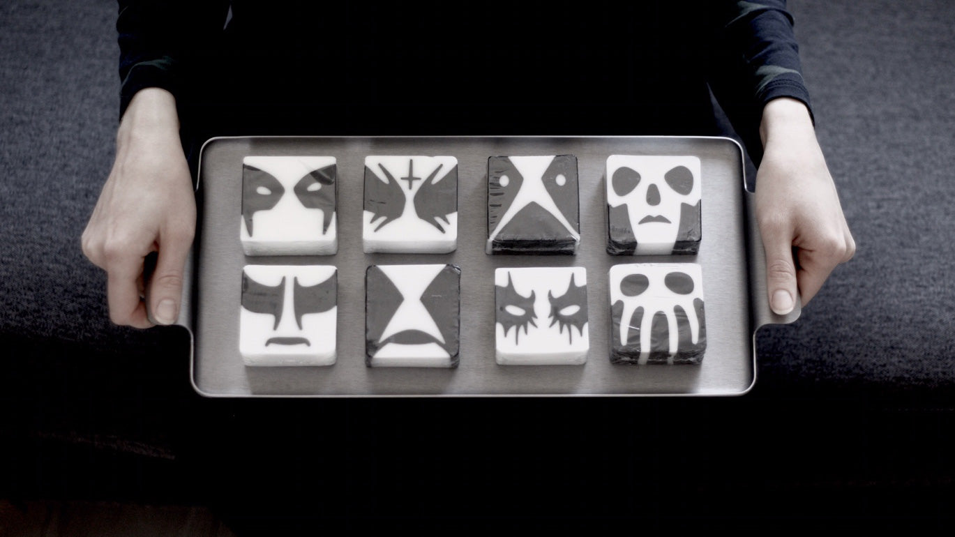 Corpse paint soaps on a tray