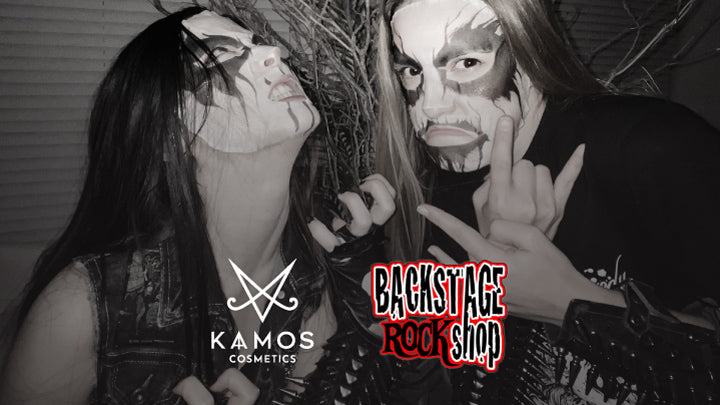 Two girls with corpse paint and logos of Kaamos Cosmetics and Backstage Rock Shop