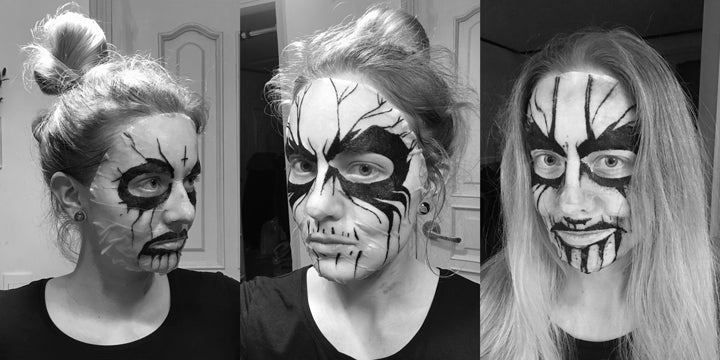 Testing corpse paint mask pack prototypes on my face