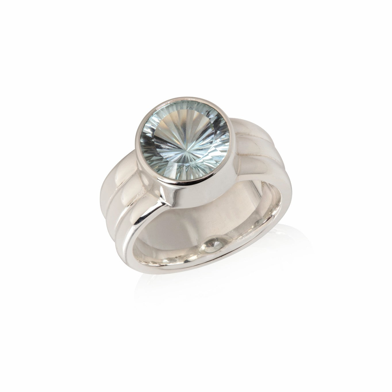 Natural Colour Topaz (Sky) in Sterling Silver triple band ring