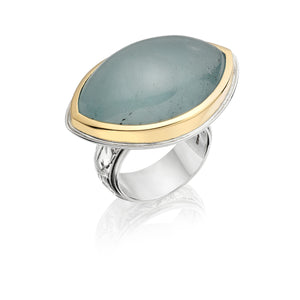 Cabochon Aquamarine Navette 18ct Yellow Gold and Sterling Silver Ring with engraved Shank