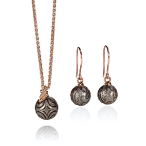 Carved Tahitian Pearl Pendant & Earrings in 18ct Rose Gold