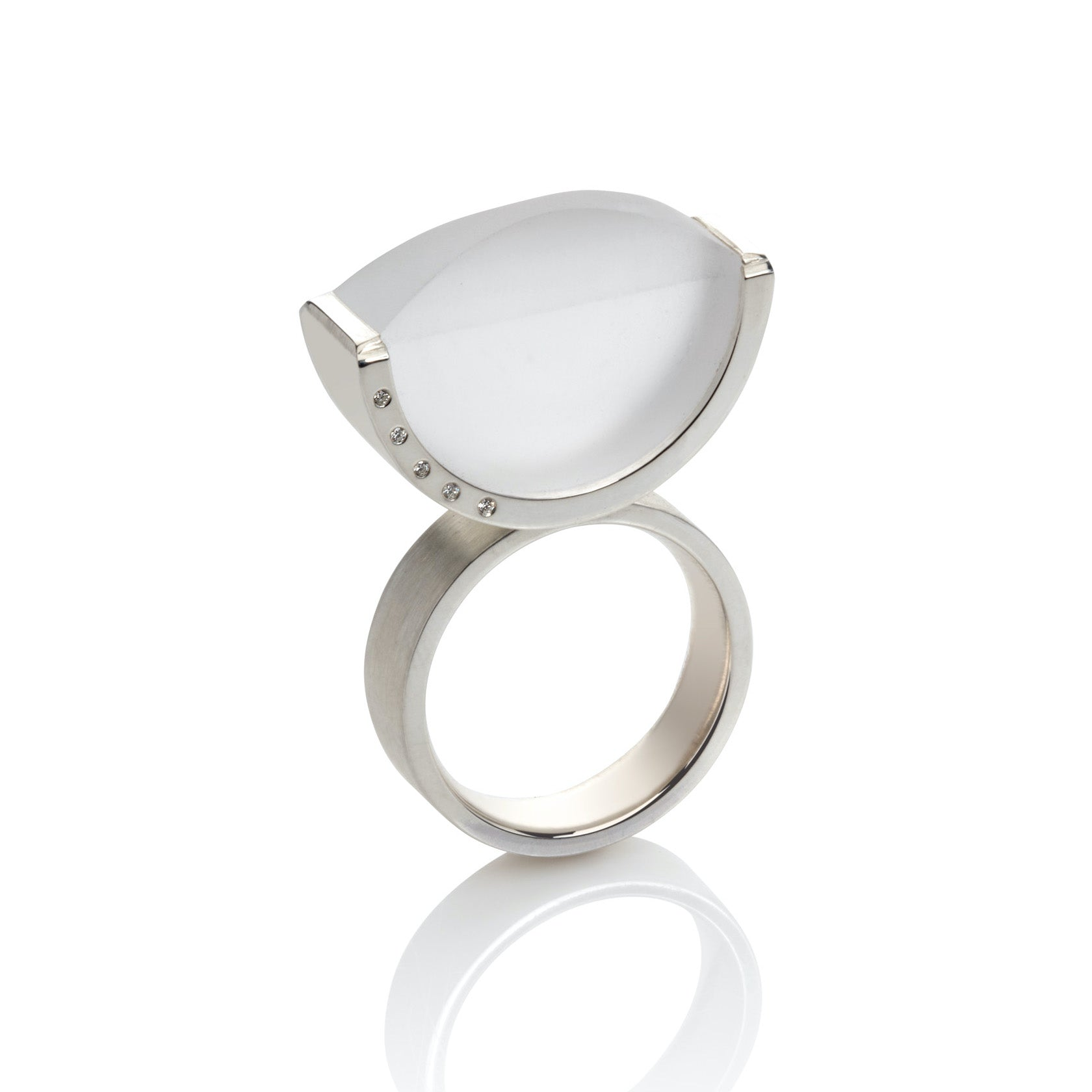 Frosted Quartz Ring with Diamonds in Sterling Silver
