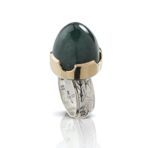 Green Tourmaline Bullet ring with Victorian Style Engraved Floral Flower Shank Sterling Silver and 18ct Yellow Gold