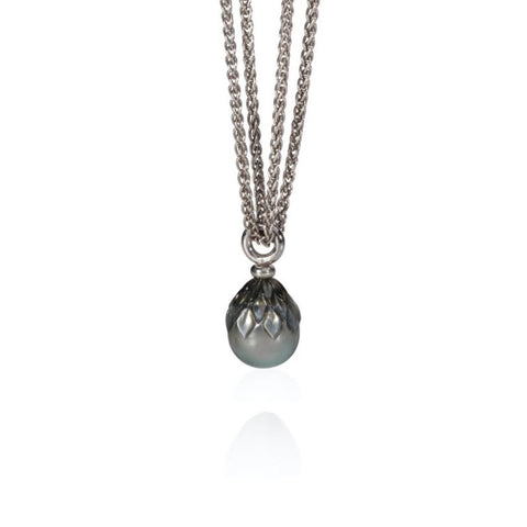 Carved Tahitian Pearl Pendant Silver