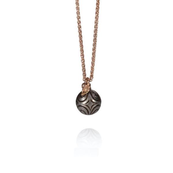 Carved Tahitian Pearl Pendant in 18ct Rose Gold