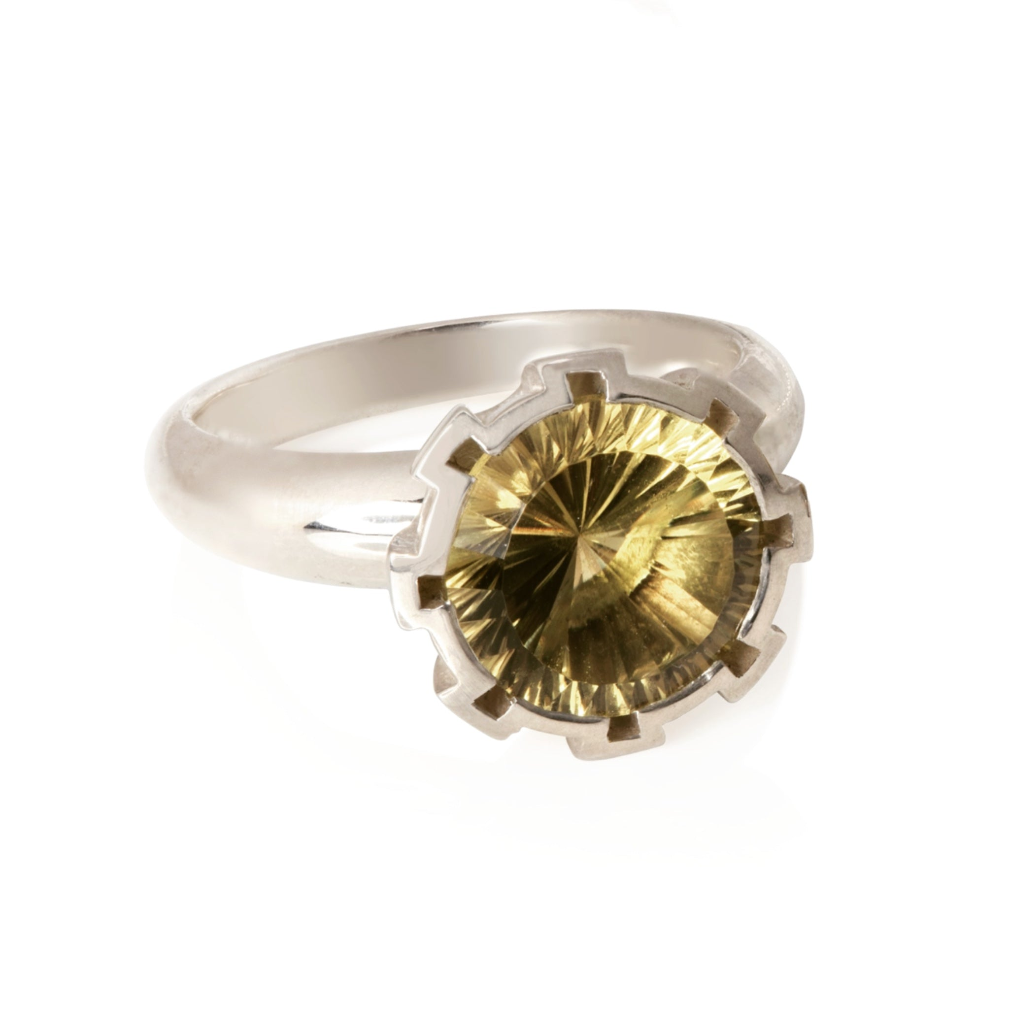 Concave Cut Citrine Ring in Silver