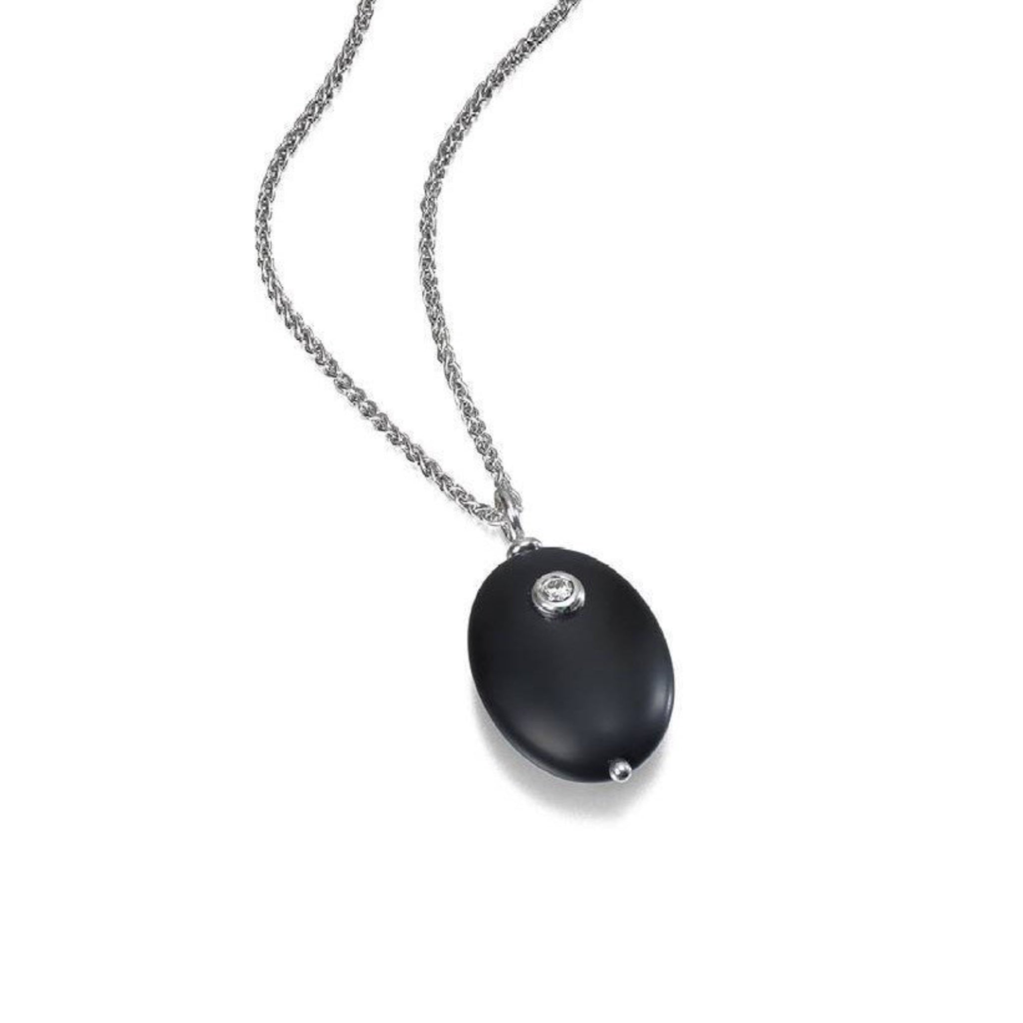 Onyx and Diamond Pebble Silver Pendant Portrait
