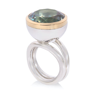 Large Round Prasiolite set in 18ct Yellow Gold with Sterling Silver Ring Rubover Set