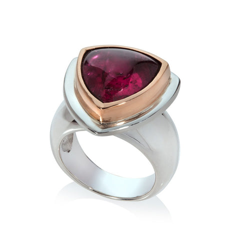 Pink Tourmaline Ring in Sterling Silver and 22ct Trillion Cut stone