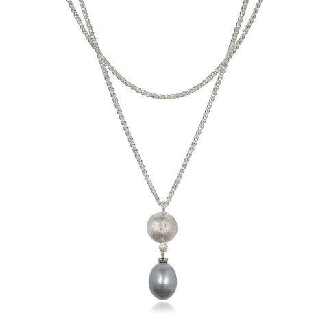 Grey Oval Fresh Water Pearl and Diamond Pendant