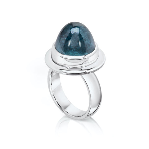 Greeny Blue Tourmaline Bullet Ring in Sterling Silver Target Ring