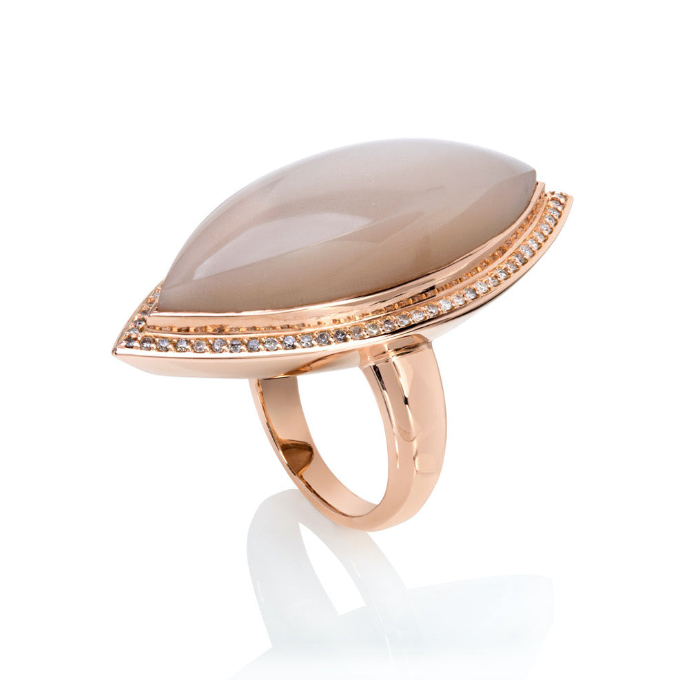 Peach Moonstone & Diamond Ring in Rose Gold