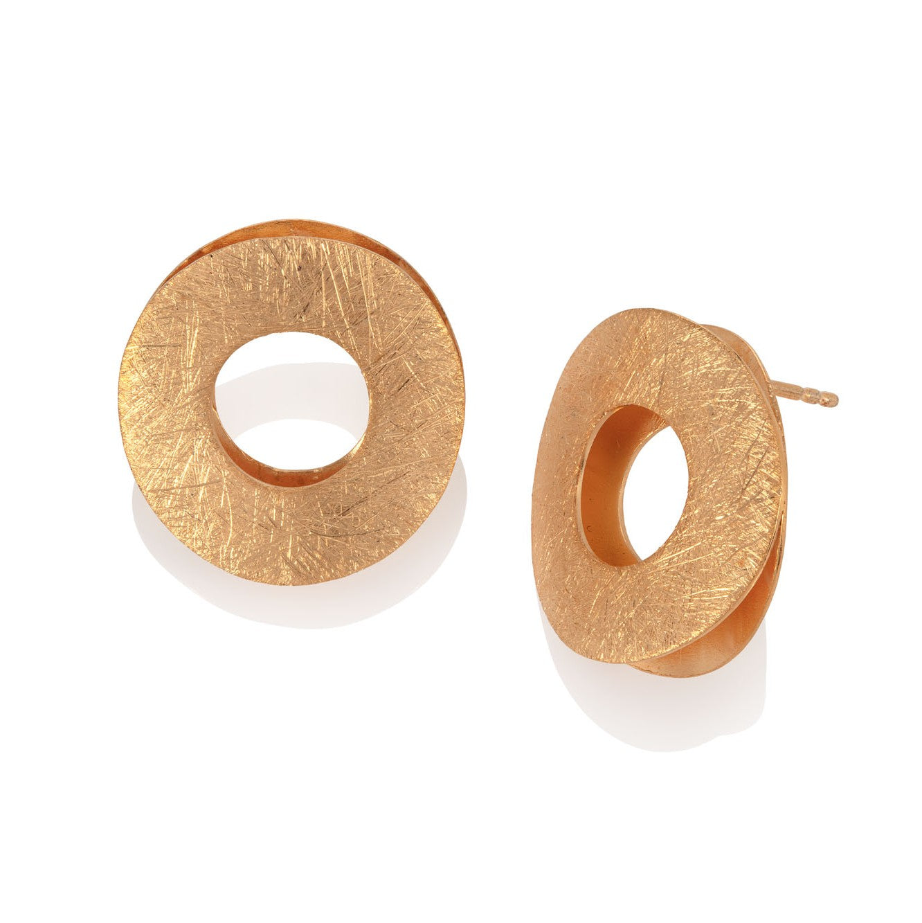 Gold Plated Double Disc Ear Studs