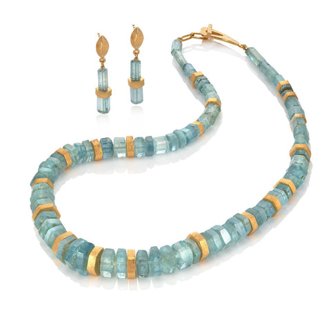 Aquamarine and Gold Plated Silver Necklace & Earrings
