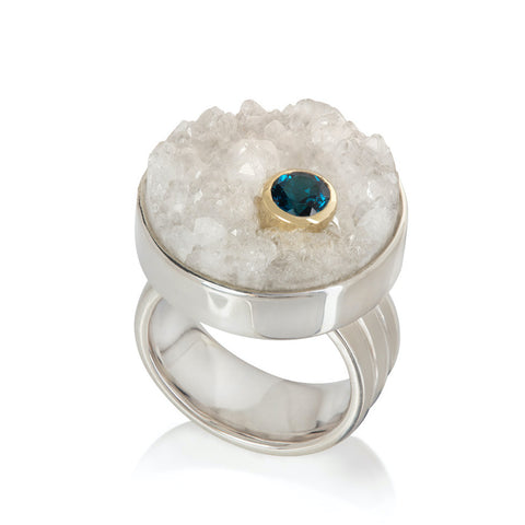 Druzy Quartz and Topaz Ring in Sterling Silver with Gold setting