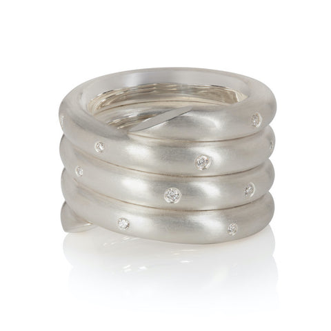 Chunky Sterling Silver Coil Ring with Fully Set Diamonds Flush